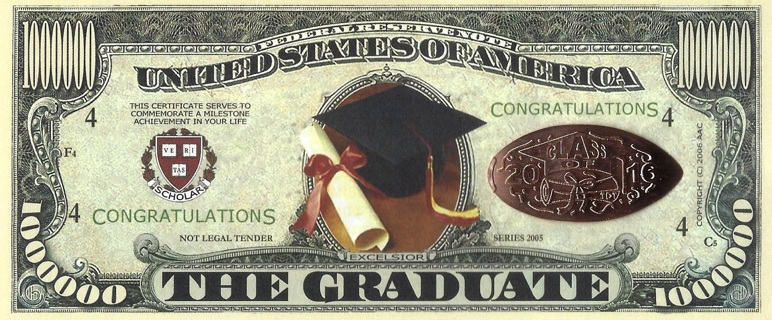 CONGRATULATIONS Graduate Class Of 2016 Novelty $1 Million Collector note/Graduate Coin