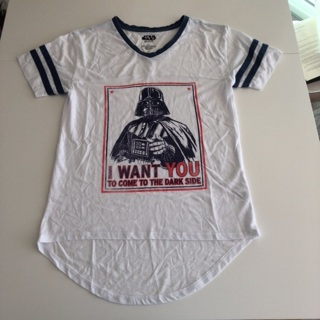 Star Wars Darth Vader Tee Shirt • XS • Excellent • White & Navy Blue Piping