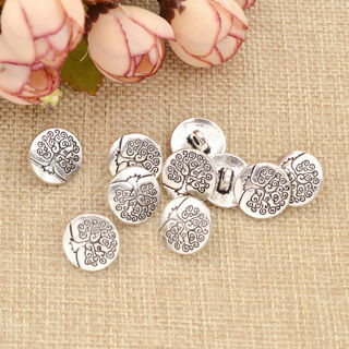 20 Pcs Round Life Tree Carved Shank Buttons Antique Silver Coat Sewing