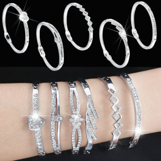 Fashion Jewelry Crystal Rhinestone Love Bangle Cuff Bracelet Charm