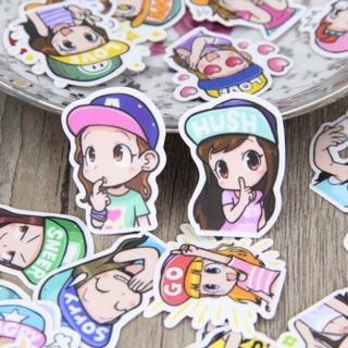 ✬ Baseball Cap Cuties Girls Kawaii High End Sticker Flakes Set of 10 NEW ✬