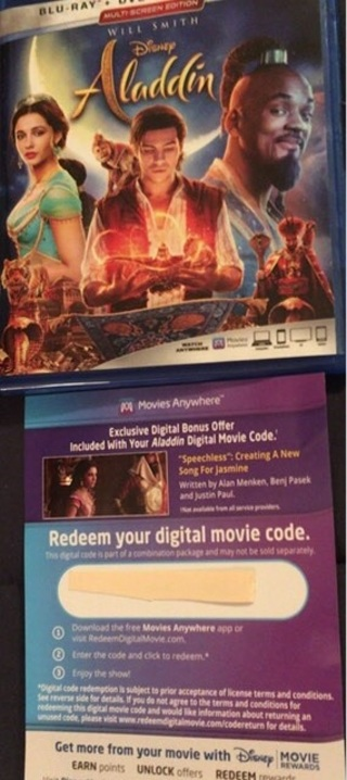 Disney's ALADDIN - Digital Code - from Blu-Ray - Will Smith - Quick Delivery!!