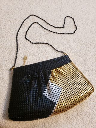 vintage, Black Gold and Silver~ metalic mesh purse~