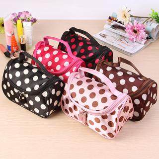 [GIN FOR FREE SHIPPING] 1Pc Portable Cosmetic Bag Cute Polka Dot Women Organizer