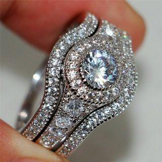 Luxury Round White Topaz CZ Ring Set 925 Silver Women Wedding Jewelry