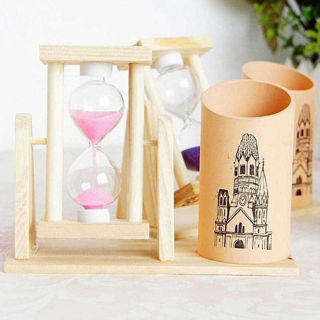 Wooden Storage Box Sandglass Desktop Organizer Office Decor Pen Pencil Holder