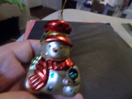 2 1/2 inch look of glass snowman ornament red & gold top hat blue lollipop in hand
