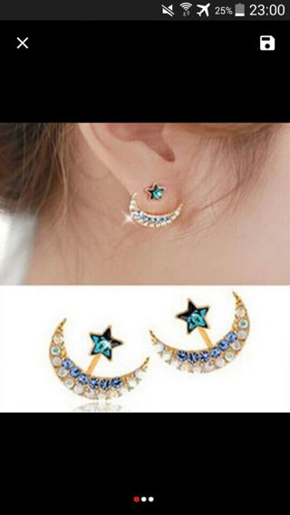 2015 Fashion New Arrival Women Rhinestone Moon Star Earrings Pentacle Pendant Stud