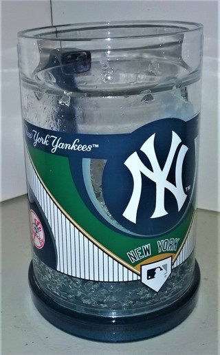 "Heavy (16 oz.) MLB NY Yankees acrylic crystal freezer mug - 6"" tall"