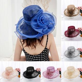 Women Lady Tea Party Church Cap Kentucky Derby Wide Brim Wedding Veil Sun Hat