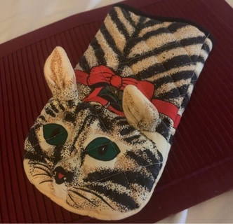 1989 Zak Designs Cat w/ Bow and Bird In Mouth, Vintage Pot Holder