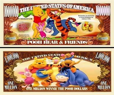 Winnie the Pooh Bear Million Dollar Collectible Million $ Bill. NEW