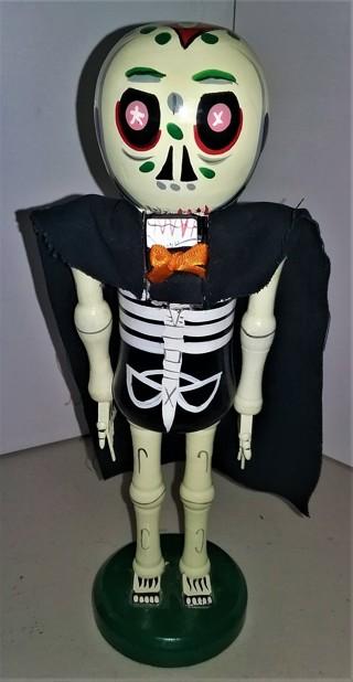 "Halloween wooden skeleton nut cracker - 10"" tall - 8 oz. - VG condition"