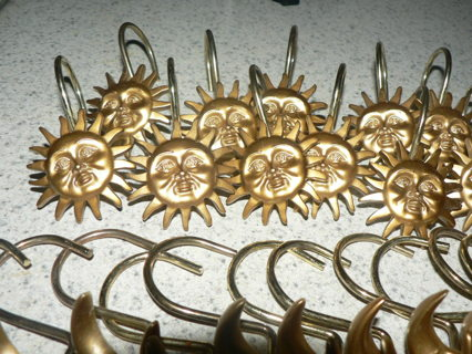 24 CELESTIAL Sun MOON Gold Shower Curtain Hooks