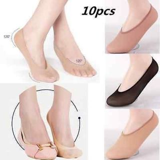 10 Pairs Womens Antiskid Invisible Liner No Show Peds Low Cut Socks