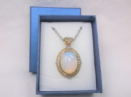 Opalite Gemstone Pendant Necklace - with Flaw