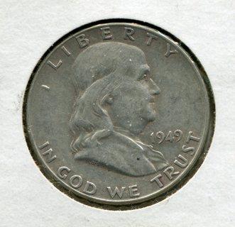 1949 P Franklin Half Dollar-2nd Year Issue-90% Silver