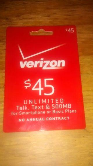 Free: $45 Dollar verizon prepaid phone card - Video Game