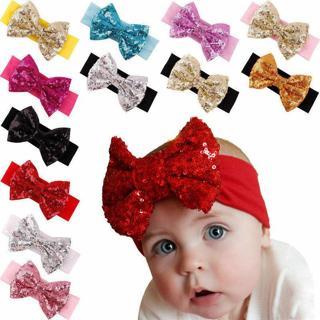 Cute Baby Girl Toddler Sequined Bow Head Wrap Hair Band Striped Turban Headband