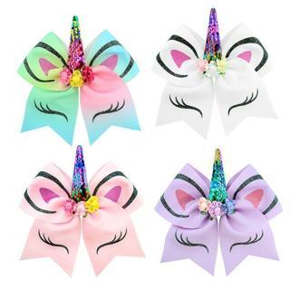 Holder Unicorn Horn Headband Girls Rubber Band Glitter Sequin Cheer Bows