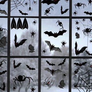 Halloween Window Clings Spiders, Webs & Bats