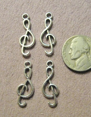 6 Medium Silvertone Pewter G Clef Music Charms ~ Gin only