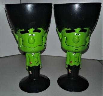 "2003 2 hard plastic Halloween Frankenstein goblets - 7"" tall x 3 1/2"" diameter"