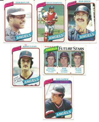 1980 Topps Angels - 6 Cards