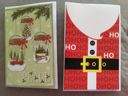2 POPULAR CHRISTMAS CARDS WITH ENVELOPES