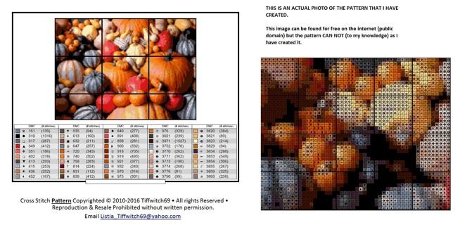 Pumpkin & Gourds Cross Stitch Pattern