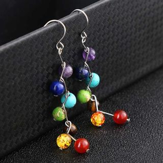 [GIN FOR FREE SHIPPING] Loop Rainbow 6mm Round Beads Drop Earrings Healing Stone 7 Chakra