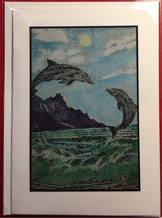 "LEAPING DOLPHINS- 5 x 7"" Greeting/Art Card by artist Nina Struthers - GIN ONLY"