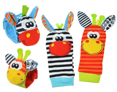 Infant Baby Cute Animal Foot Sock and Hand Bell - 1pair hand bell & 1pair foot sock