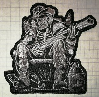 Skeleton with a Shotgun Embroidered Cloth Iron On Patch Biker