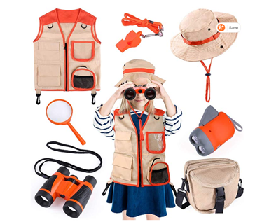 Kids Explorer Kit, 7 Pcs Outdoor Exploration Kit with Binoculars, Costume Vest, Safari Hat Plus