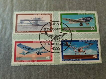 complete set on theme airplanes - stamps of Germany  issued 1979 #BLue #1