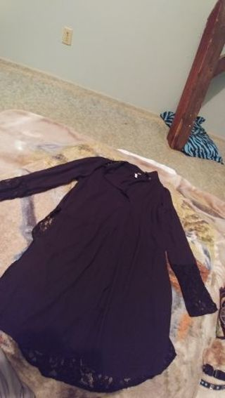 Brand New Black Elle Lace Dress Shirt