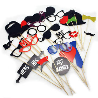31PCs Photo Booth Selfie Props Moustache Lips On A Stick Wedding Party DIY