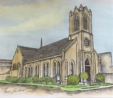 """Historic Church - 5 x 7"""" art card by artist Nina Struthers - GIN ONLY"""