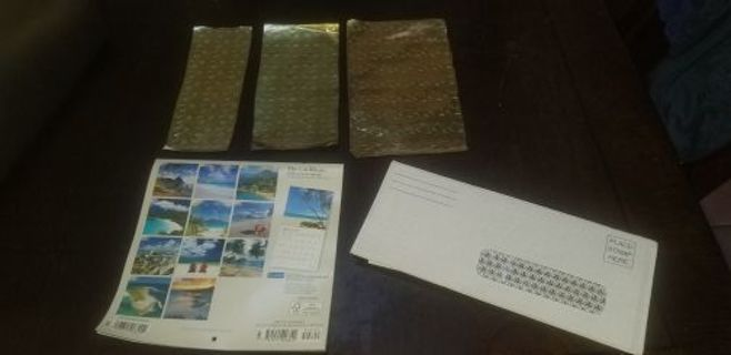 2020 Caribbean Calendar, 12 assorted window envelopes & 140 gold star stickers