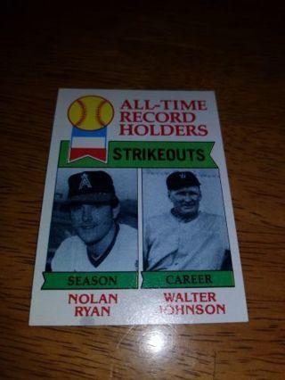 1979 Topps Baseball Nolan Ryan/Walter Johnson #417,VG condition,Free Shipping!