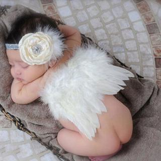 White Newborn Feather Wings Baby Angel Wings with Headband Newborn Photography Props Little Girl H