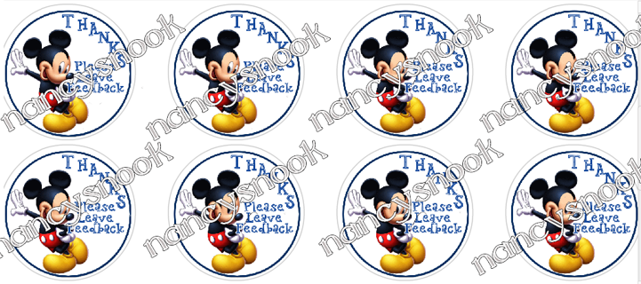 "Sheet of 24 Circle Stickers  MICKEY MOUSE  ""Thanks, Please Leave Feedback""-peel and stick"