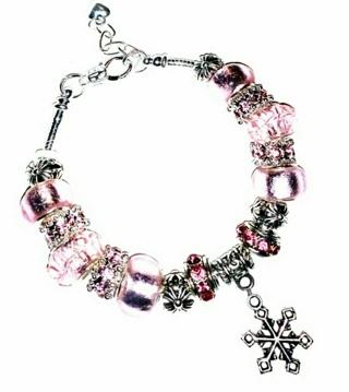 "(NEW!) ""Blushing Shea"" Classic Euro Bracelet!{SNOWFLAKE Charm!}"
