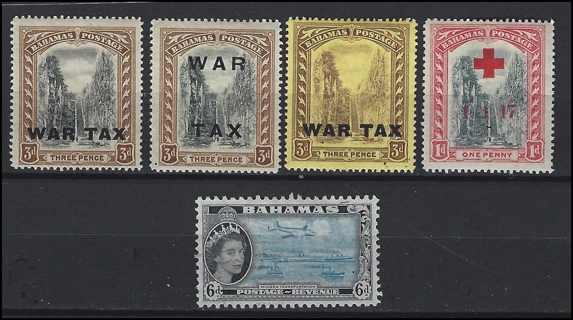 WW1 Bahamas Queens Staircase stamps w/QE (5), VF/MH,U, with Scott IDs