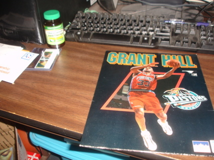 nba basketball, grant hill detroit pistons school folder exc cond 1996 collectible.in box1.