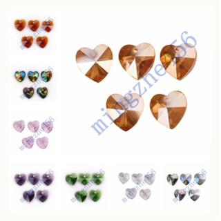 10/30pcs Crystal Heart Faceted Loose Pendant Glass Beads 14mm Findings Charms