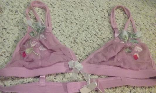 Like new, 36c(runs a cup smaller I'd say) sheer pink embroidered lingerie bra. Very sexy!