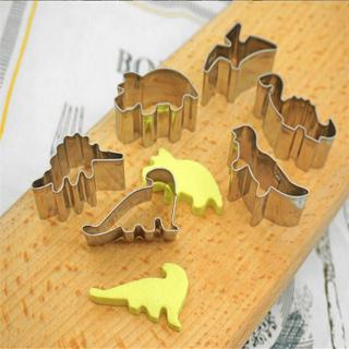 6PCS Stainless Steel Dinosaur Cookies Cutters Biscuit Pastry Cake Fondant Mould
