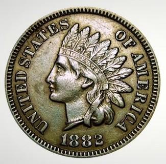 1882 Indian Head Cent Replica, copper Exact dimensions copy. Ingot XFine Cast,